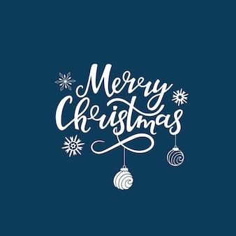 Merry christmas hand getekende letters. wenskaart voor de nieuwjaarsvakantie met sneeuwvlokken en ballen.