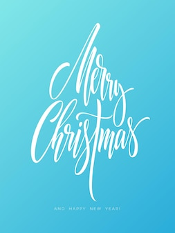 Merry christmas hand getekende letters. xmas kalligrafie op vorst achtergrond. prettige kerstdagen en gelukkig nieuwjaar belettering. xmas ijzige kalligrafie. banner, posterontwerp. geïsoleerde vectorillustratie