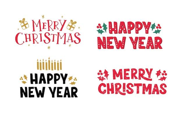 Merry christmas hand getrokken belettering set met heden, hulst en kaars. winter vakantie typografie ontwerp.