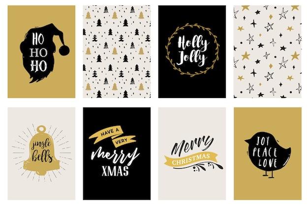 Merry christmas hand getrokken kaarten, illustraties en pictogrammen, belettering design collectie