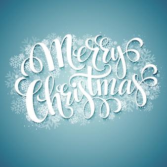 Merry christmas handgeschreven tekst met sneeuwvlokken, wenskaart