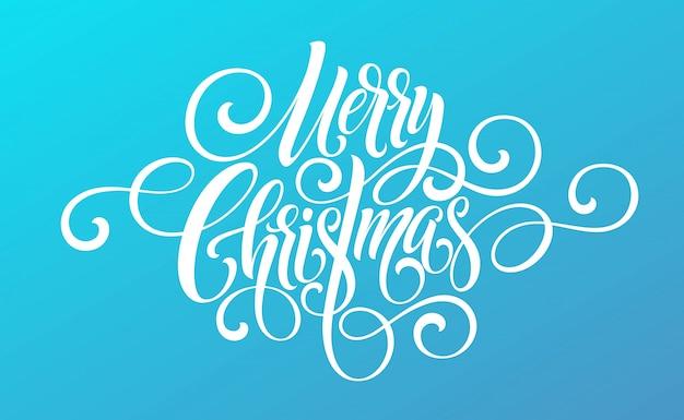 Merry christmas handschrift script belettering op een fel gekleurde achtergrond.