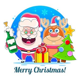 Merry christmas happy christmas metgezellen. illustratie geschikt voor wenskaart, poster of t-shirt afdrukken.