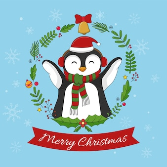 Merry christmas happy penguins