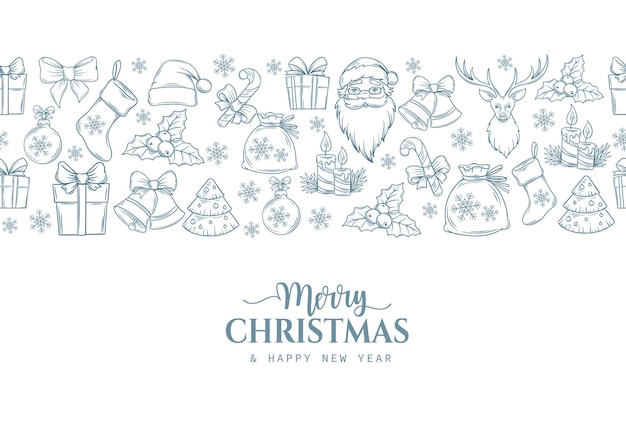 Merry christmas holiday naadloze grens met omtrek cadeau