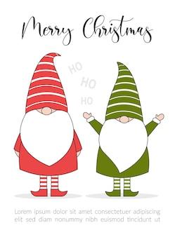 Merry christmas illustratie kaart met elfjes.