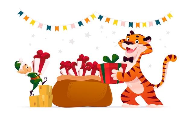 Merry christmas illustratie met tijger, schattige santa elf en grote zak vol kerstcadeautjes geïsoleerd. vector platte cartoon stijl. voor banners, verkoopkaarten, posters, tags, web, flyers, advertenties etc.