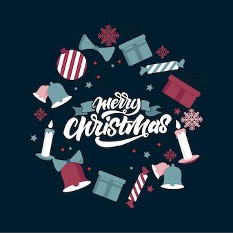 Merry christmas illustratie ontwerp.