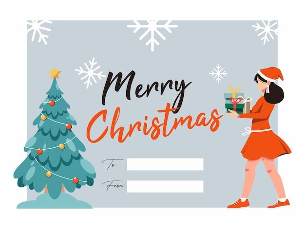 Merry christmas illustraties wenskaart met kerstboom en vrouwen brengen geschenkdoos