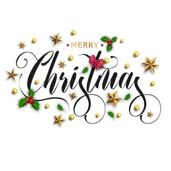 Merry christmas inscriptie versierd met gouden sterren