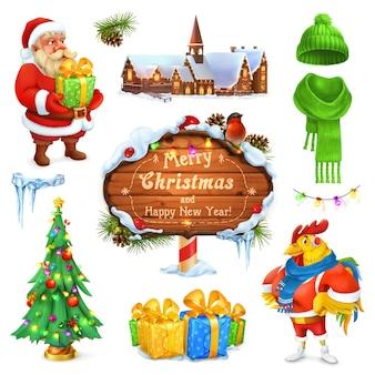Merry christmas instellen afbeelding. kerstman. kerstboom. houten bordje. geschenkdoos. winter gebreide muts.