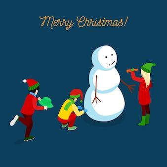 Merry christmas isometrische wenskaart met kinderen sneeuwpop maken. illustratie