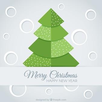 Merry christmas kaart met boom in plat ontwerp