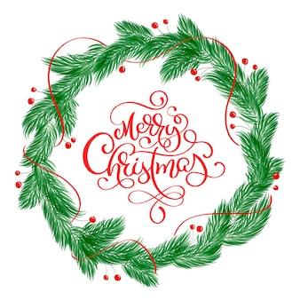 Merry christmas kalligrafie belettering tekst en een krans met fir tree takken
