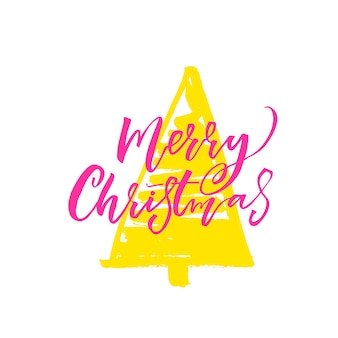 Merry christmas kalligrafie inscriptie groene hand getekende kerstboom winter kerstkaart ontwerp