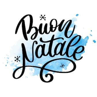 Merry christmas kalligrafie sjabloon in het italiaans.