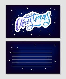 Merry christmas kalligrafische inscriptie versierd met gouden sterren en kralen.