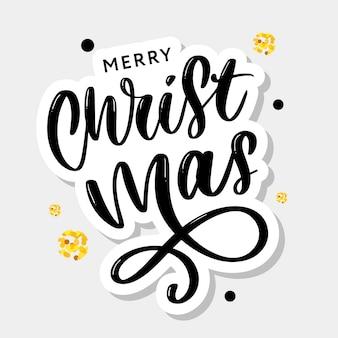 Merry christmas kalligrafische inscriptie versierd met gouden sterren en kralen