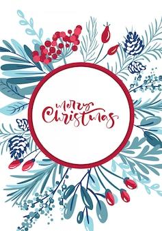 Merry christmas kalligrafische letters handgeschreven tekst. wenskaart