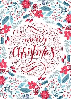 Merry christmas kalligrafische letters