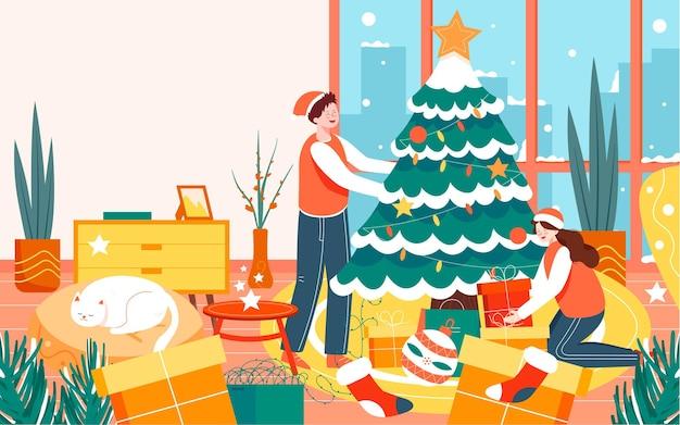 Merry christmas karakter illustratie kerstavond versierde kerstboom poster