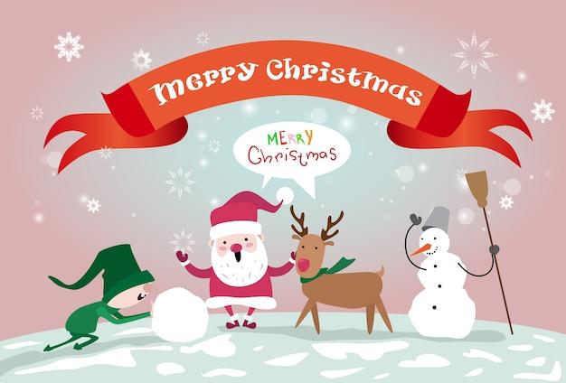 Merry christmas kerstman rendieren elf