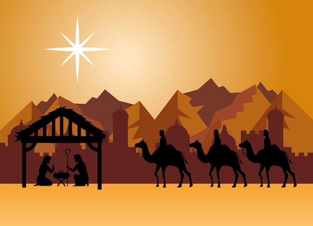 Merry christmas kerststal mary joseph baby en drie wijze mannen bij woestijnontwerp, winterseizoen en decoratie