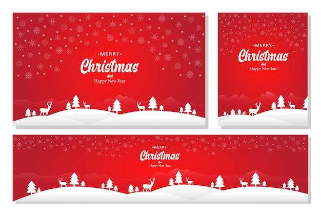 Merry christmas landscape banner set, a flat design style. achtergronden illustratie