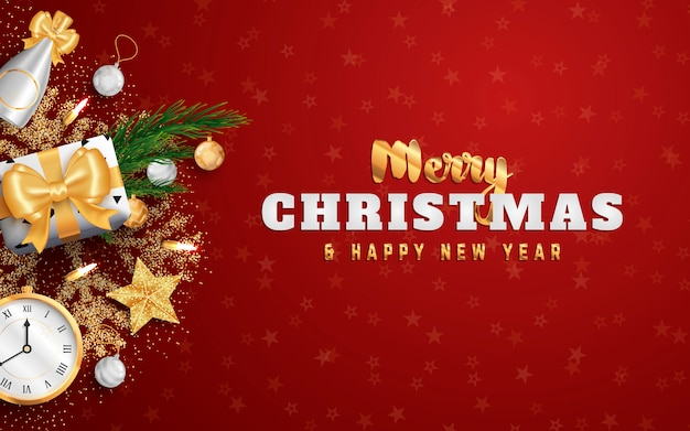 Merry christmas lay-out sociale media banner of folder sjabloon.