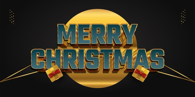 Merry christmas letter in groen en goud met 3d-effect en luxe gouden geschenkdoos. vrolijk kerstontwerp voor spandoek, poster of wenskaart