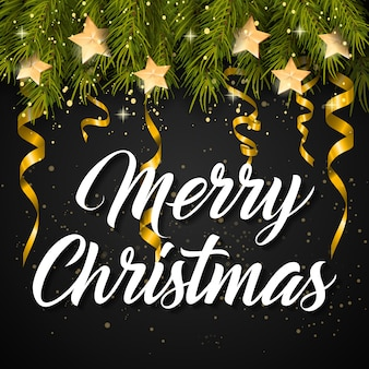 Merry christmas lettering en streamers