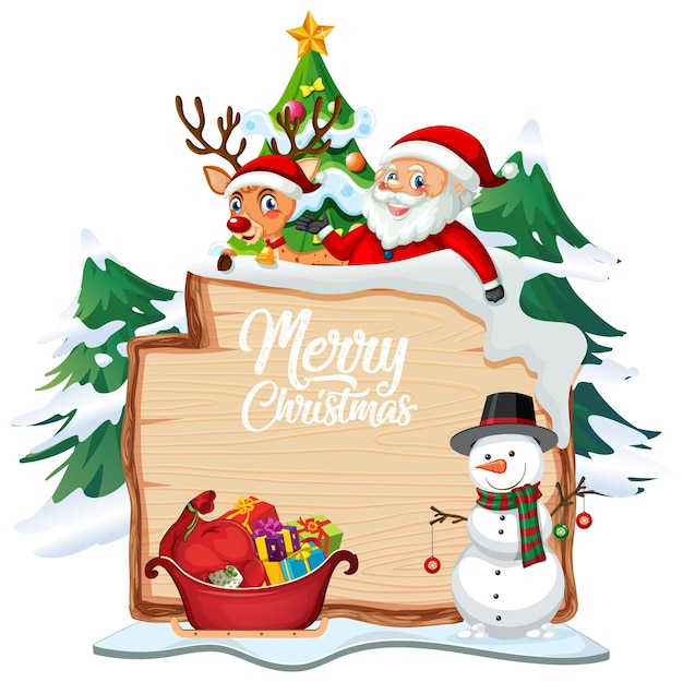 Merry christmas lettertype logo op houten bord met kerst stripfiguur op witte achtergrond
