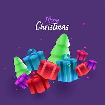 Merry christmas-lettertype met 3d besneeuwde kerstbomen en geschenkdozen