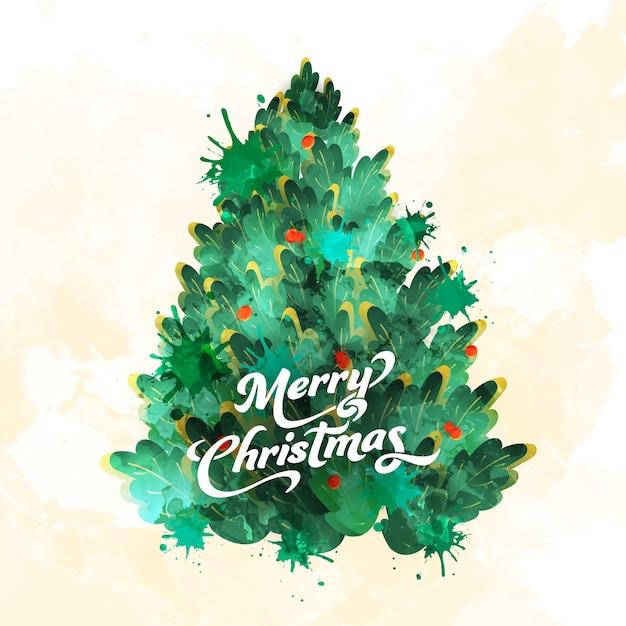 Merry christmas-lettertype met kersenboom in aquarel splash-effect op witte achtergrond.