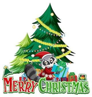 Merry christmas-lettertype met kerstboom en wasbeer