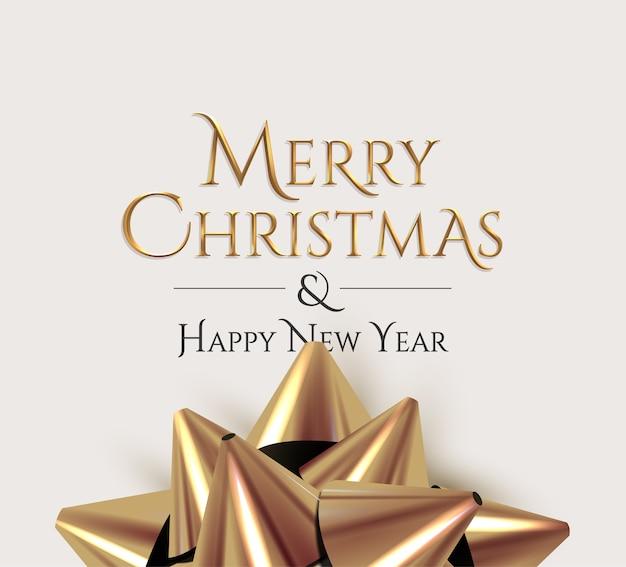 Merry christmas luxe gouden belettering bord met realistische gouden geschenk strik op lichte achtergrond.