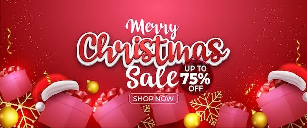 Merry christmas mega sale kop- of bannerontwerp op rode achtergrond