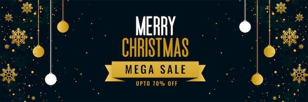 Merry christmas mega verkoop gouden sjabloon voor spandoek