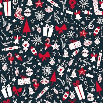 Merry christmas naadloos patroonontwerp met geschenken, sparren, speelgoed, sneeuwvlokken. platte vectorillustratie. voor kaarten, banners, prints, verpakkingen, uitnodigingen.
