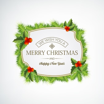 Merry christmas naaldkrans versierd met maretak op witte vlakke afbeelding