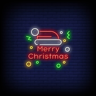 Merry christmas neon signs style text