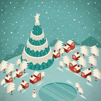 Merry christmas night landschap wenskaart en achtergrond