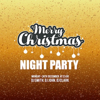 Merry christmas night party glitter achtergrond