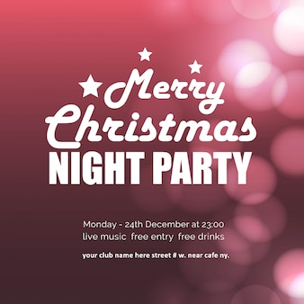 Merry christmas night party gloeiende achtergrond