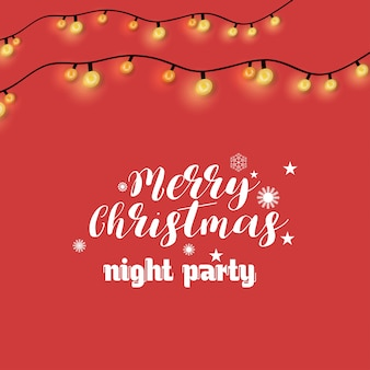 Merry christmas night party verlichting achtergrond