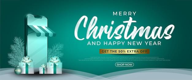 Merry christmas online winkelen achtergrond concept