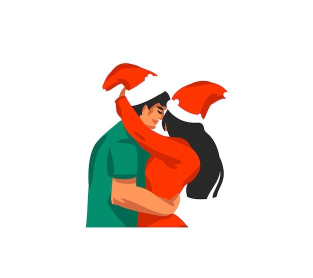 Merry christmas paar cartoon afbeelding