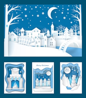 Merry christmas paper cuts of town and nature