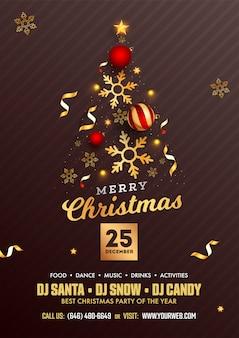 Merry christmas party flyer design met creatieve kerstboom gemaakt door realistische kerstballen, gouden sterren
