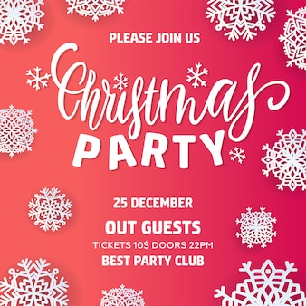 Merry christmas party uitnodiging en happy new year party
